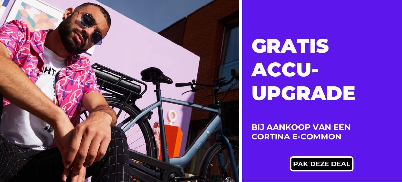 Gratis accu-upgrade bij aankoop van een Cortina E-Common bij Fietsuniek.nl